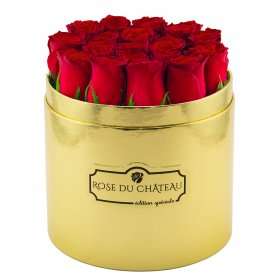 Édition Spéciale Złoty Box z Czerwonymi Różami Żywymi