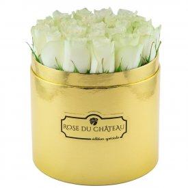 Edition Spéciale Złoty Box z Białymi Różami Żywymi