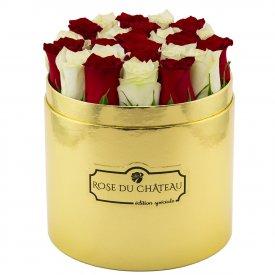 Édition Spéciale Złoty Box z Białymi & Czerwonymi Różami Żywymi