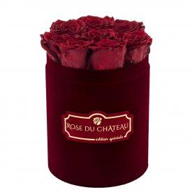 Czerwone Wieczne Róże w Bordowym Małym Flokowanym Boxie