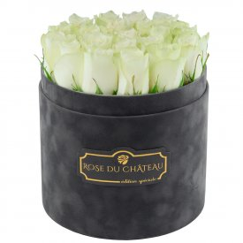 Édition Spéciale Antracytowy Flokowany Box z Białymi Różami Żywymi