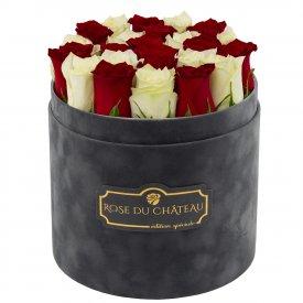 Édition Spéciale Antracytowy Flokowany Box z Białymi & Czerwonymi Różami Żywymi