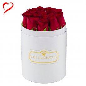 Czerwone Róże Żywe w Małym Białym Boxie