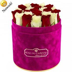 Édition Spéciale Fuksjowy Flokowany Box z Białymi & Czerwonymi Różami Żywymi
