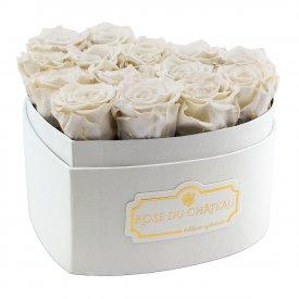 Białe Wieczne Róże w Białym Boxie Heart