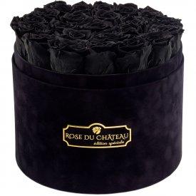 Czarne Wieczne Róże w Czarnym Dużym Flokowanym Boxie