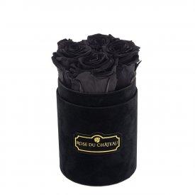 Czarne Wieczne Róże w Czarnym Flokowanym Baby Boxie