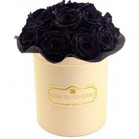 Czarne Wieczne Róże Bouquet w Brzoskwiniowym Boxie
