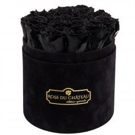 Czarne Wieczne Róże w Czarnym Flokowanym Boxie