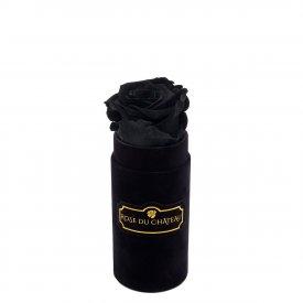 Czarna Wieczna Róża w Czarnym Mini Flokowanym Boxie