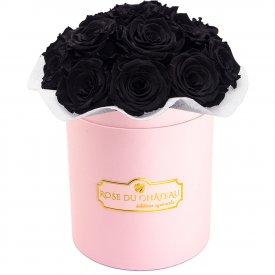 Czarne Wieczne Róże Bouquet w Różowym Boxie