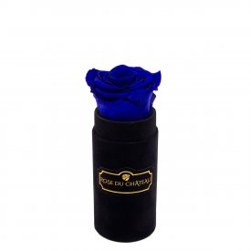 Niebieska Wieczna Róża w Czarnym Mini Flokowanym Boxie
