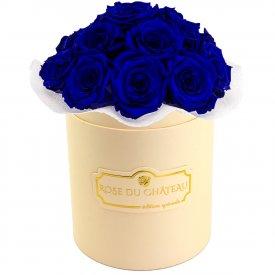 Niebieskie Wieczne Róże Bouquet w Brzoskwiniowym Boxie