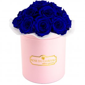 Niebieskie Wieczne Róże Bouquet w Różowym Boxie
