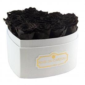 Czarne Wieczne Róże w Białym Boxie Heart