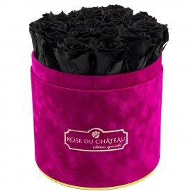 Czarne Wieczne Róże w Fuksjowym Flokowanym Flowerboxie