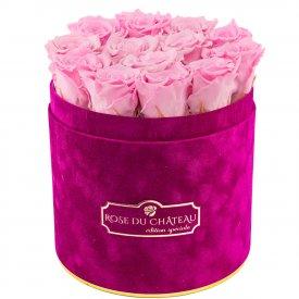 Bladoróżowe Wieczne Róże w Fuksjowym Flokowanym Flowerboxie