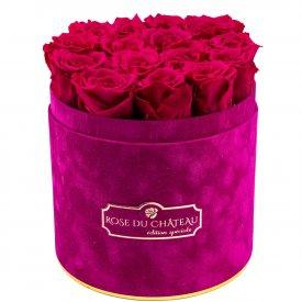 Różowe Wieczne Róże w Fuksjowym Flokowanym Flowerboxie