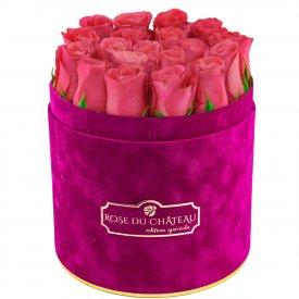 Édition Spéciale Fuksjowy Flokowany Box z Różowymi Różami Żywymi
