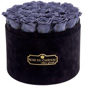 Szare Wieczne Róże w Czarnym Dużym Flokowanym Boxie