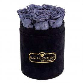 Szare Wieczne Róże w Czarnym Małym Flokowanym Boxie