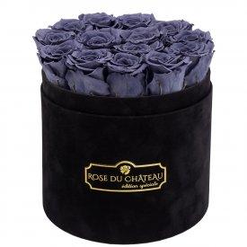 Szare Wieczne Róże w Czarnym Flokowanym Boxie