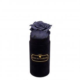 Szara Wieczna Róża w Czarnym Mini Flokowanym Boxie