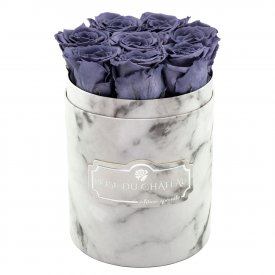Szare Wieczne Róże w Białym Małym Marmurowym Boxie