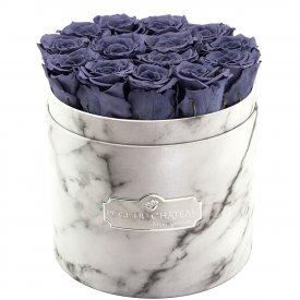 Szare Wieczne Róże w Białym Marmurowym Boxie