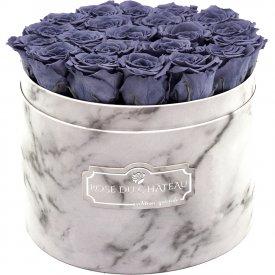 Szare Wieczne Róże w Białym Dużym Marmurowym Boxie