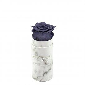 Szara Wieczna Róża w Białym Mini Marmurowym Boxie