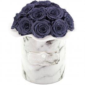Szare Wieczne Róże Bouquet w Białym Marmurowym Boxie