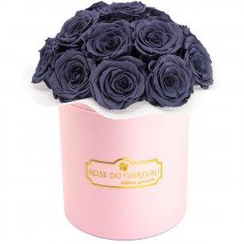 Szare Wieczne Róże Bouquet w Różowym Boxie