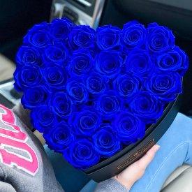 Niebieskie Wieczne Róże w Dużym Boxie Heart