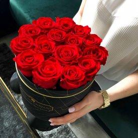 Czerwone Wieczne Róże w Czarnym Industrialnym Boxie