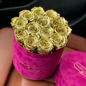 Złote Wieczne Róże w Fuksjowym Flokowanym Flowerboxie
