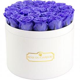 Lawendowe Wieczne Róże w Białym Dużym Boxie