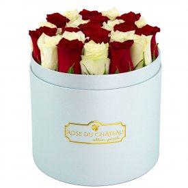 Édition Spéciale Błękitny Box z Białymi & Czerwonymi Różami Żywymi