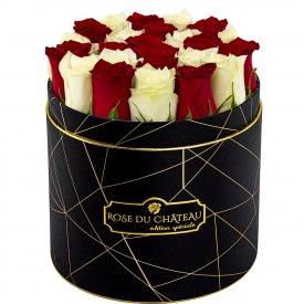 Édition Spéciale Czarny Industrialny Box z Białymi & Czerwonymi Różami Żywymi