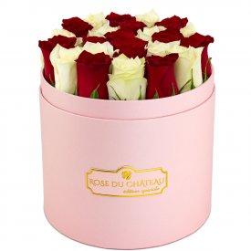 Édition Spéciale Różowy Box z Białymi & Czerwonymi Różami Żywymi