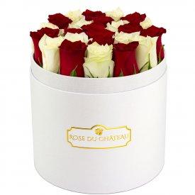 Białe & Czerwone Róże Żywe w Białym Okrągłym Boxie
