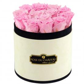 Bladoróżowe Wieczne Róże w Coco Flokowanym Boxie