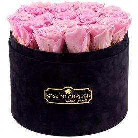 Bladoróżowe Wieczne Róże w Czarnym Dużym Flokowanym Boxie
