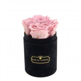 Bladoróżowe Wieczne Róże w Czarnym Flokowanym Baby Boxie