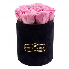 Bladoróżowe Wieczne Róże w Czarnym Małym Flokowanym Boxie