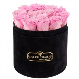 Bladoróżowe Wieczne Róże w Czarnym Flokowanym Boxie