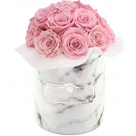 Bladoróżowe Wieczne Róże Bouquet w Białym Marmurowym Boxie