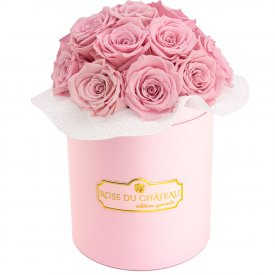 Bladoróżowe Wieczne Róże Bouquet w Różowym Boxie
