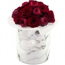 Red Romance Bouquet Wiecznych Kwiatów w Białym Marmurowym Boxie