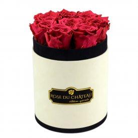 Różowe Wieczne Róże w Coco Małym Flokowanym Boxie